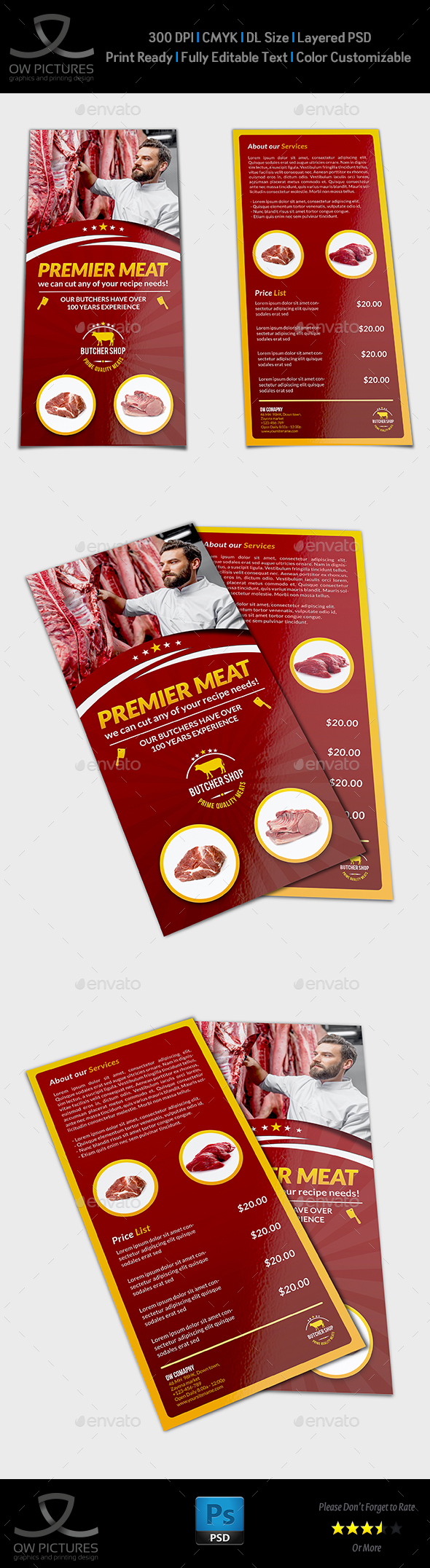 Butcher Shop DL Flyer Template by OWPictures | GraphicRiver