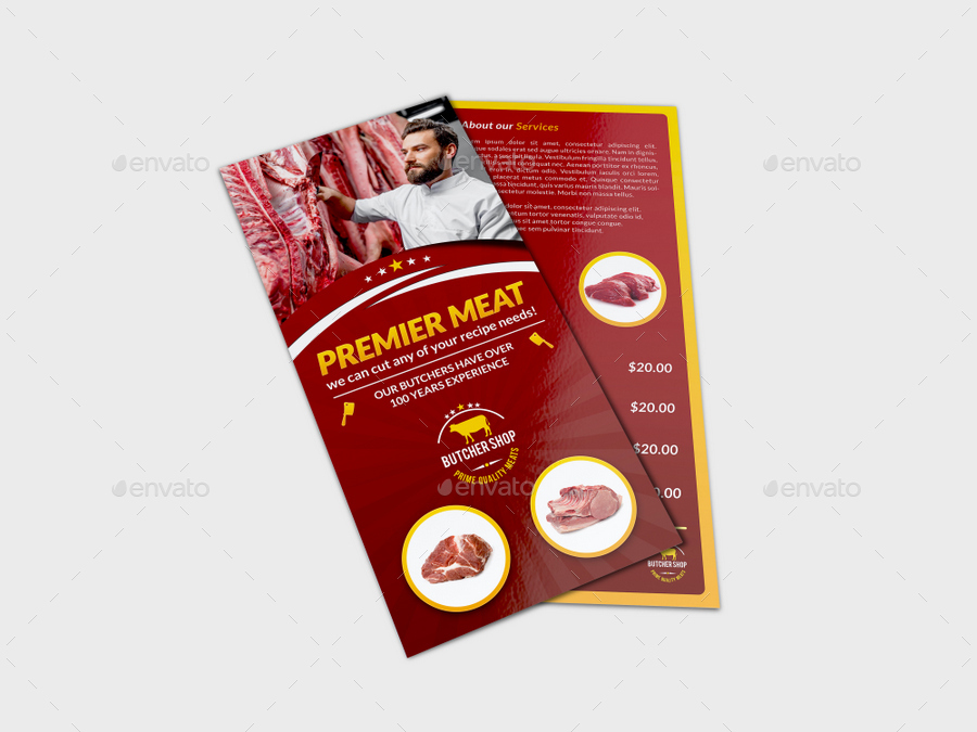 Butcher Shop Dl Flyer Template By Owpictures Graphicriver