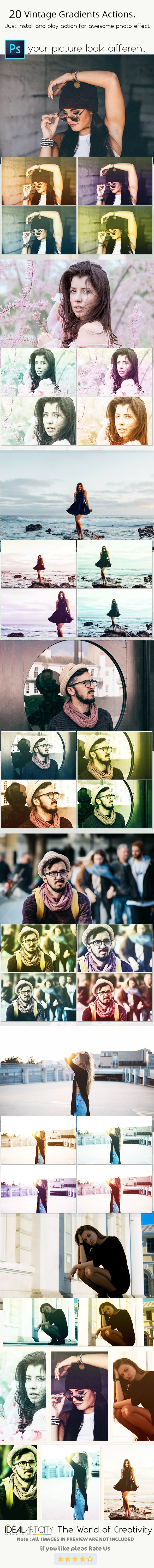 20 Vintage Gradients Actions - Photo Effects Actions