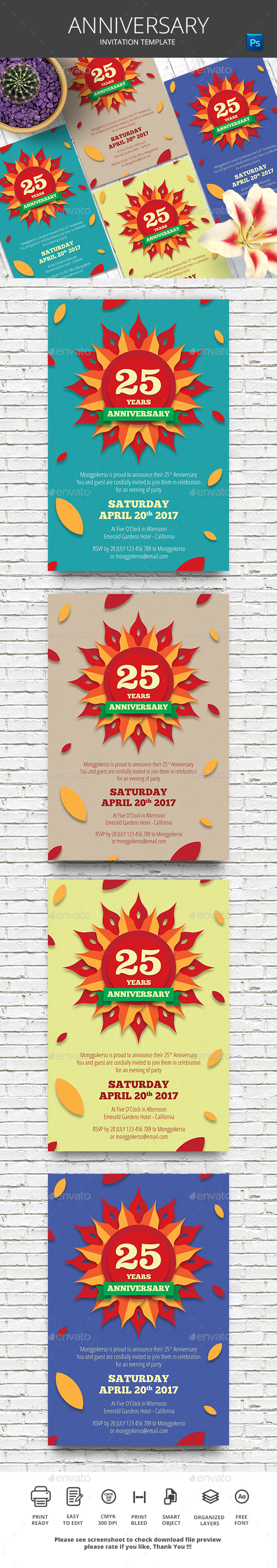 Anniversary Invitation - Cards & Invites Print Templates