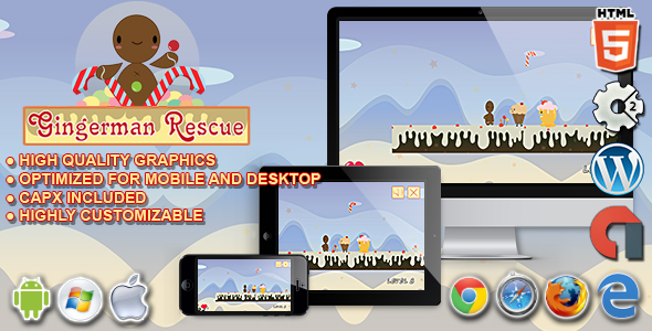 Gingerman Rescue - HTML5 Construct 2 Platform Game - CodeCanyon Item for Sale