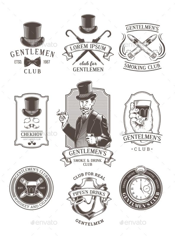 Set of Vintage Gentleman Emblems - Decorative Symbols Decorative