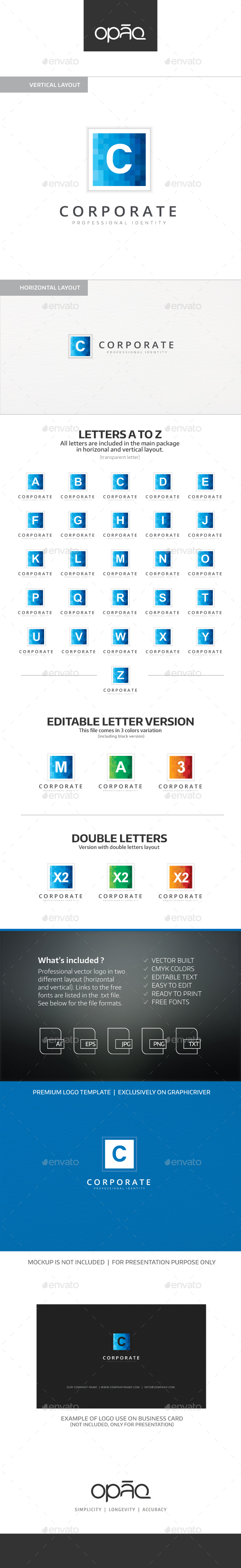 A to Z Editable Letter Logo - Letters Logo Templates