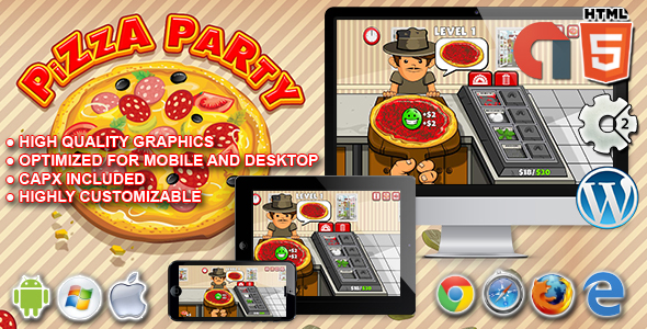 Pizza Party - HTML5 Construct 2 Game - CodeCanyon Item for Sale