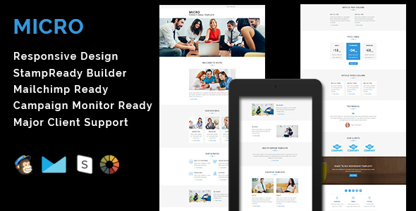 MICRO – Multipurpose Responsive Email Template With Stamp Ready Builder Access