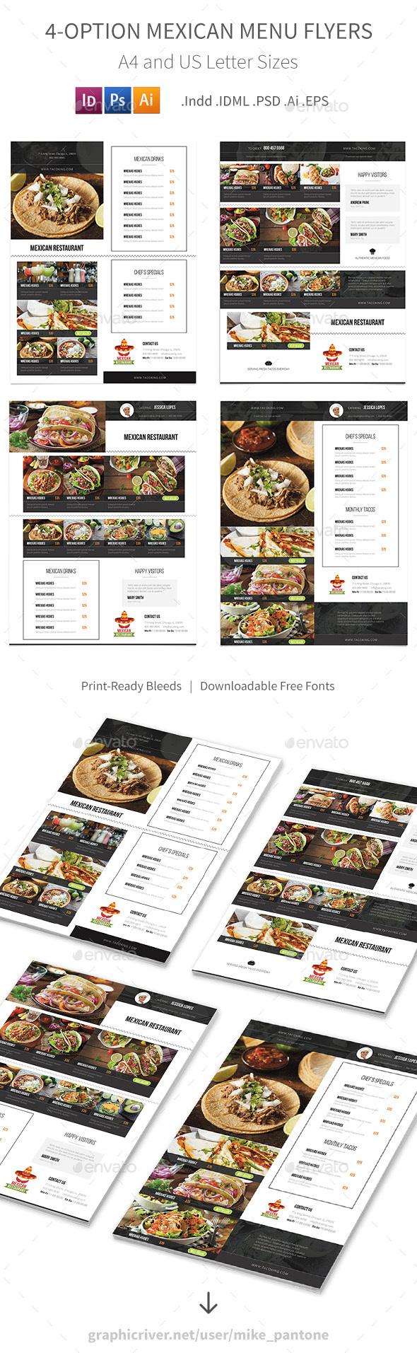 Mexican Restaurant Menu Flyers – 4 Options - Food Menus Print Templates