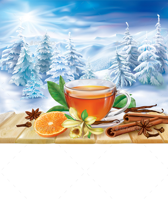 Tea with Spices on a Winter Background - Food Objects
