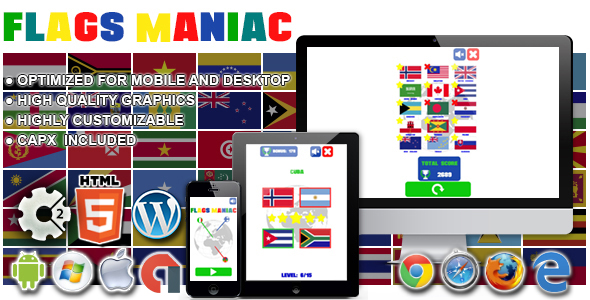 Flags Maniac - HTML5 Construct 2 Game - CodeCanyon Item for Sale