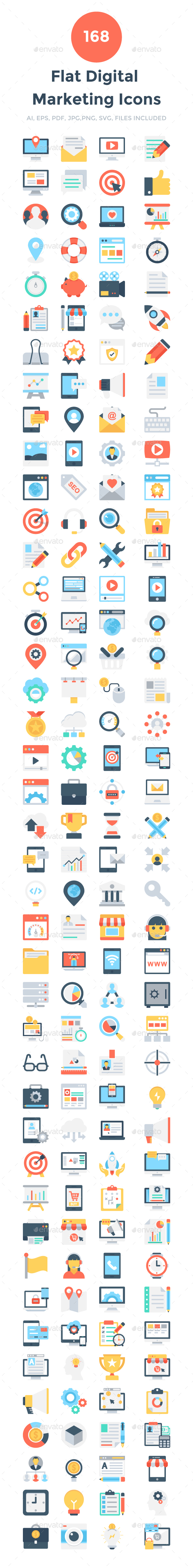 168 Flat Digital Marketing Icons - Icons