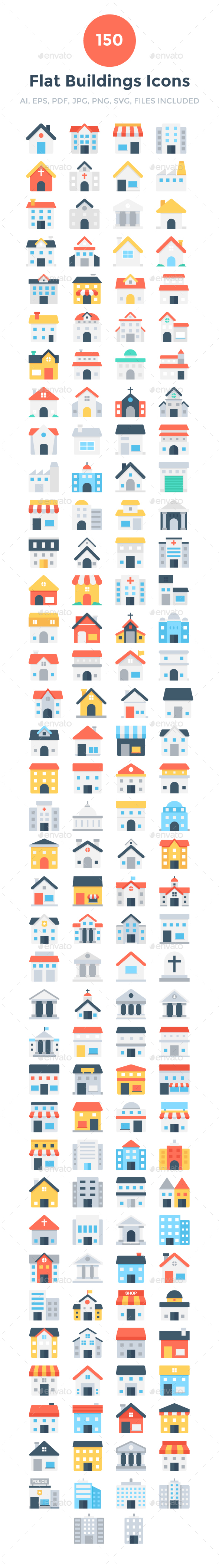 150 Flat Buildings Icons - Icons