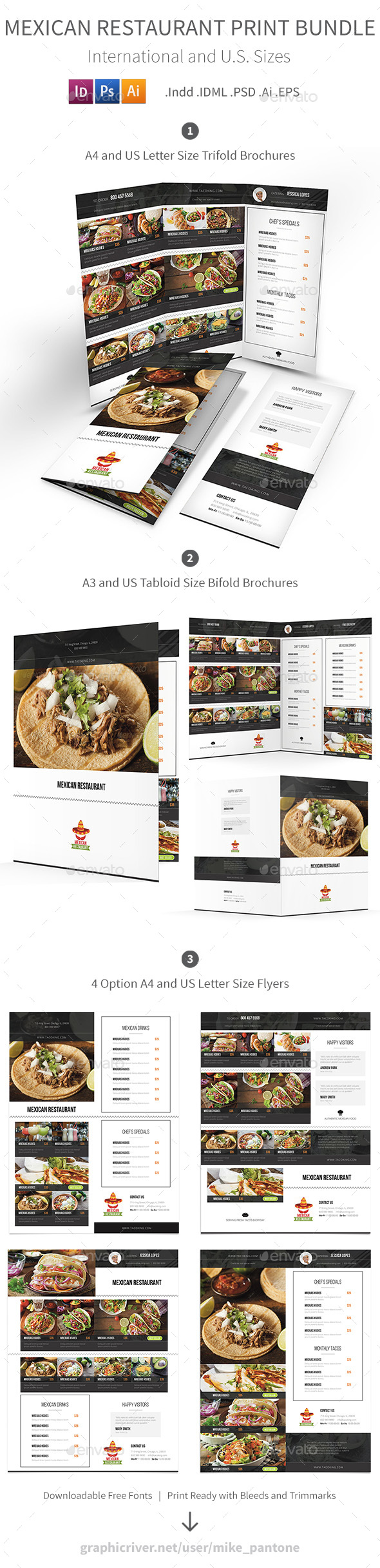 mexican restaurant menu print bundle by mike pantone graphicriver