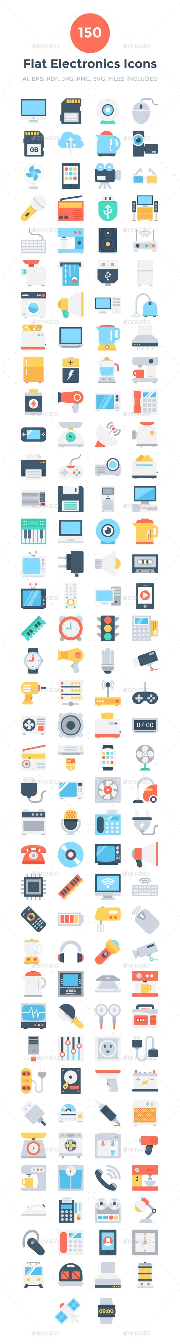 150 Flat Electronics Icons - Icons