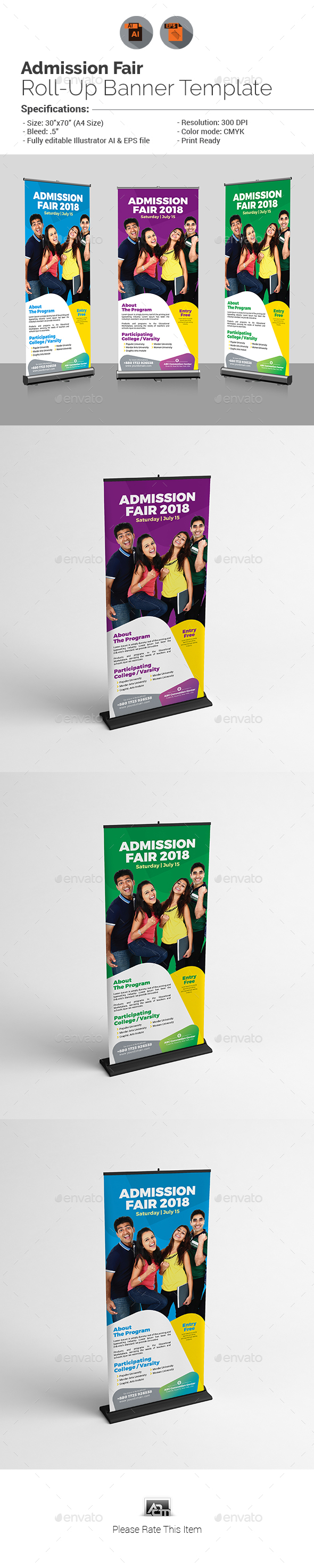 Admission Fair Roll-Up Banner - Signage Print Templates