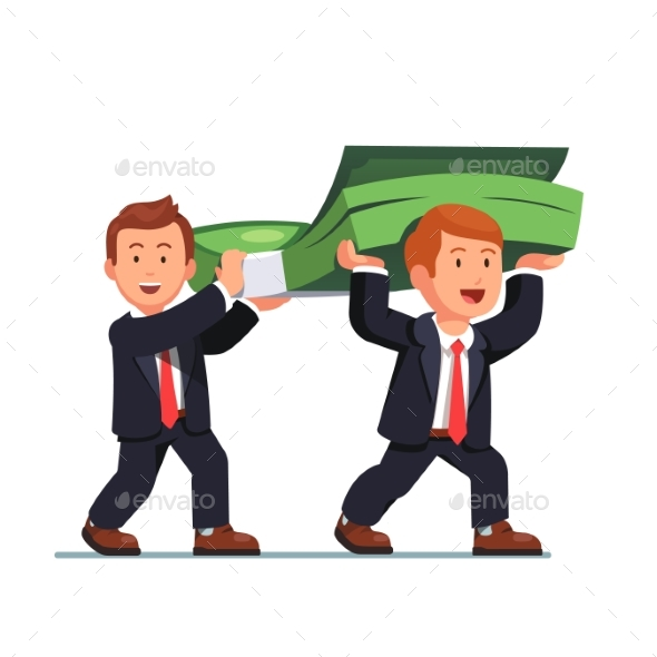 Two Business Man Carrying Money Bundle - Concepts Business