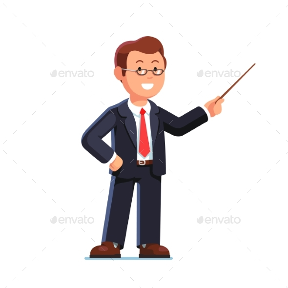 Business Man Teacher Pointing with Pointer Stick - Concepts Business