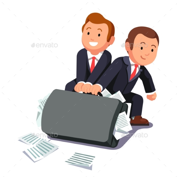 Two Lawyers Dragging Huge Briefcase Full of Papers - Concepts Business