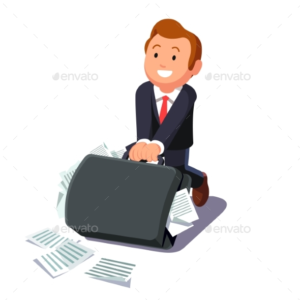 Businessman Dragging Huge Briefcase Full of Papers - Concepts Business