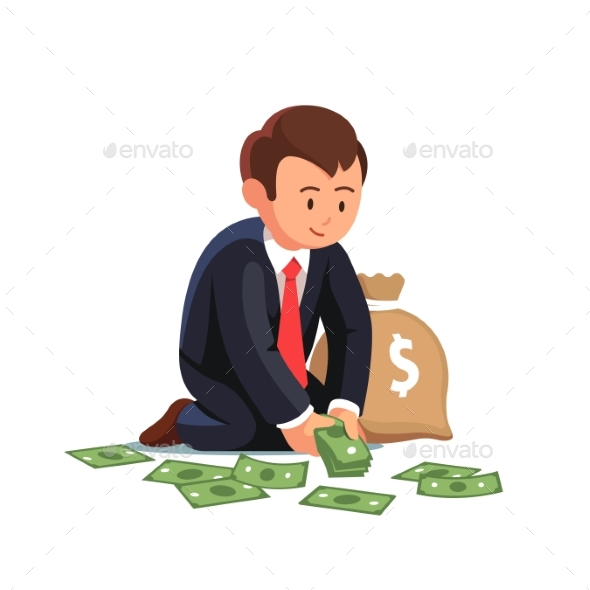 Sitting Businessman Collecting Cash From the Floor - Concepts Business