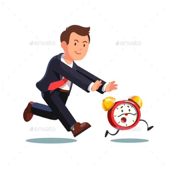 Business Man Chasing Deadline Time in a Rush Hour - Concepts Business