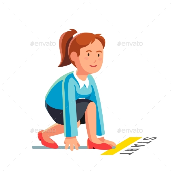 Business Woman Ready to Sprint Run - Concepts Business