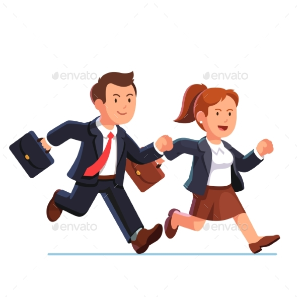 Business Woman and Man Running Fast Together - People Characters
