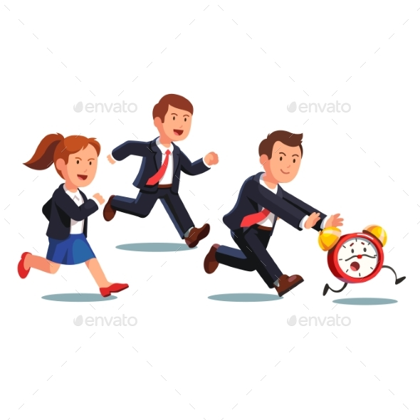 Late Business Man and Woman Chasing Deadline Time - Concepts Business