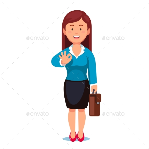 Business Woman with a Briefcase Showing OK Gesture - Concepts Business