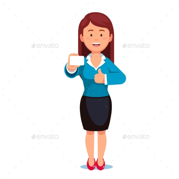 Standing Woman Showing Her Business Card - Concepts Business