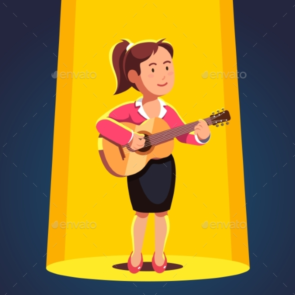 Woman in Formal Dress Playing Guitar and Singing - People Characters