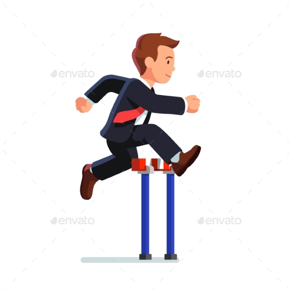 Business Man Competing in a Steeplechase Race - Concepts Business