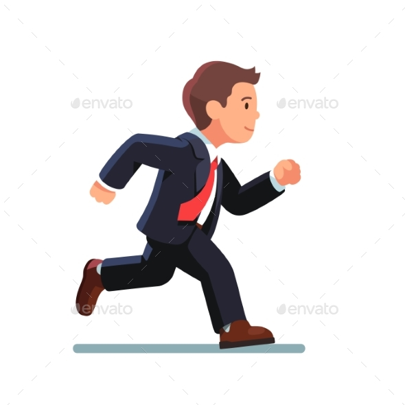 Business Man in Suit and Red Tie Running Fast - Concepts Business