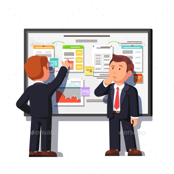 Business Man Showing Project Process to Boss - Concepts Business
