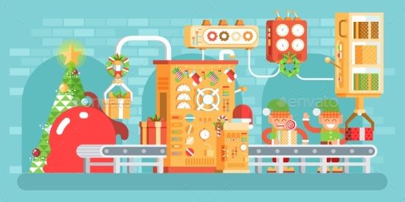 Illustration of Isolated Christmas Conveyor - Christmas Seasons/Holidays