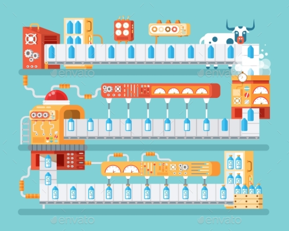 Vertical Illustration of Isolated Milk Conveyor - Concepts Business