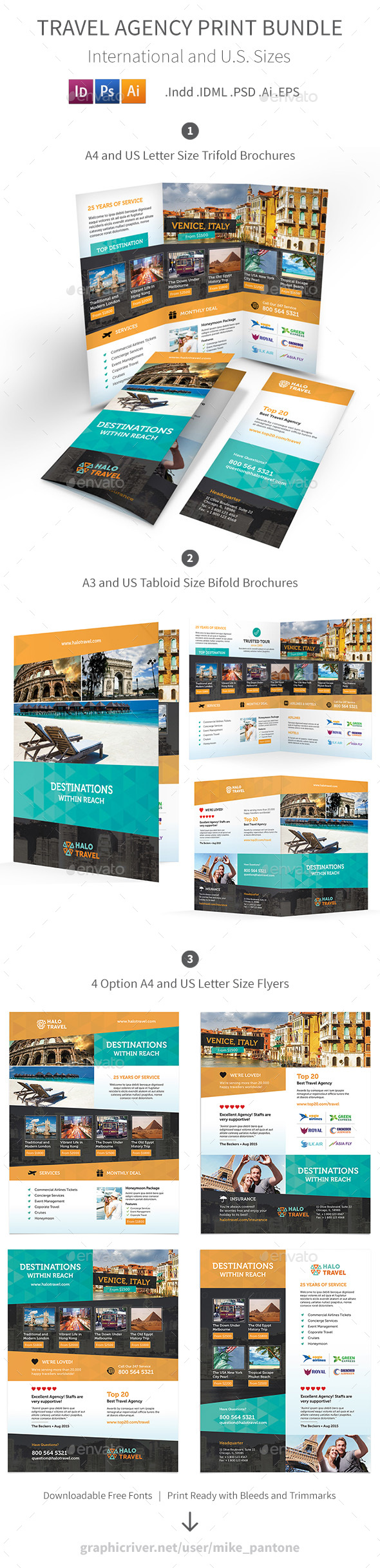 Travel Agency Print Bundle 2 - Informational Brochures