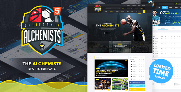 Alchemists – Basketball, Soccer Sports Club and News HTML Template