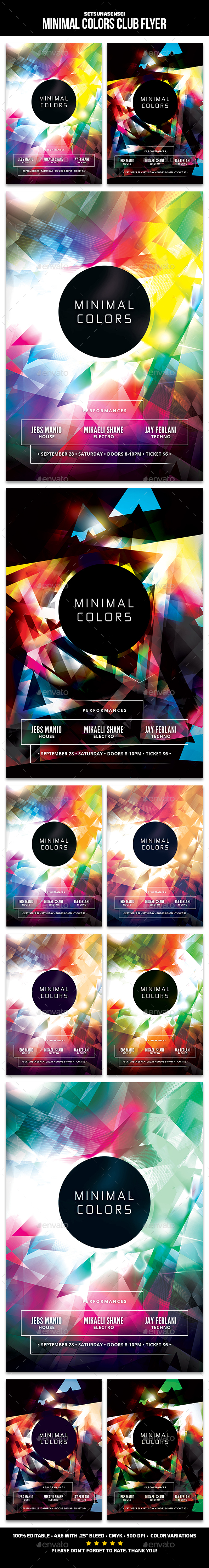 Minimal Colors Club Flyer - Clubs & Parties Events