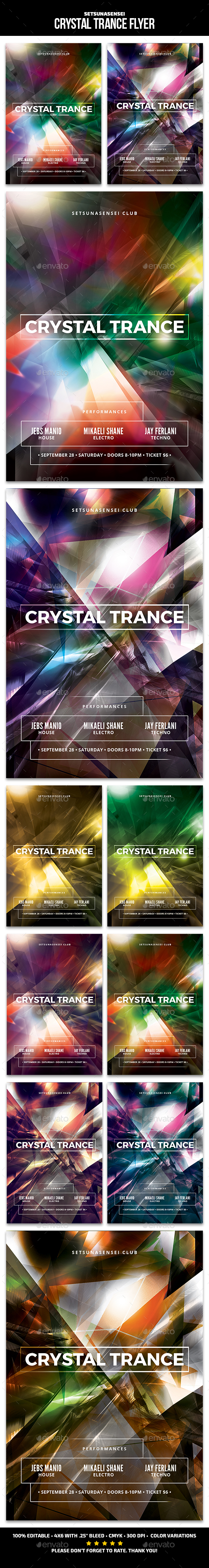 Crystal Trance Flyer - Clubs & Parties Events