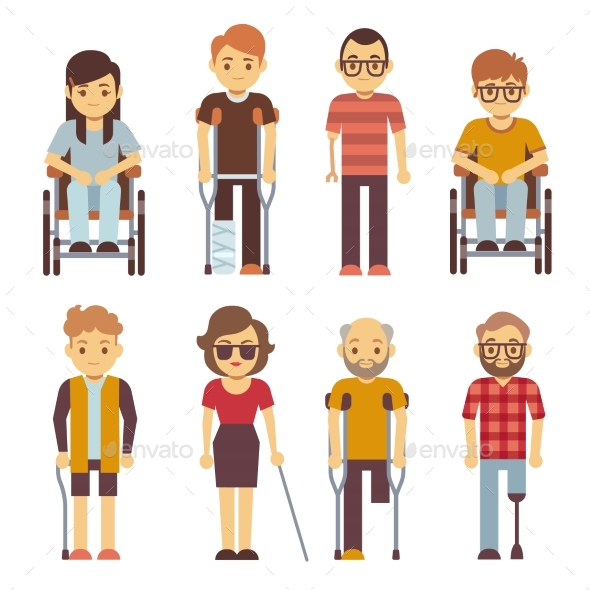 Disabled Persons Vector Flat Icons - People Characters