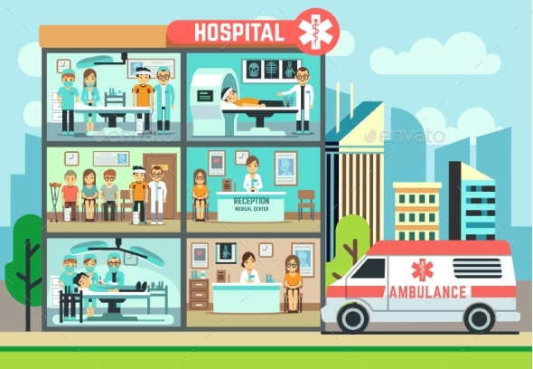 Hospital, Medical Clinic Building, Ambulance - Buildings Objects