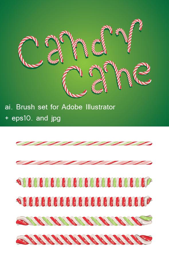 Candy Cane Brushes - Brushes Illustrator