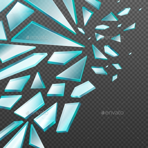 Window with Transparent Broken Glass Shards Vector - Miscellaneous Vectors