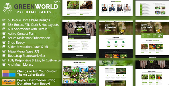 GreenWorld – Nonprofit Environment Responsive HTML5 Template