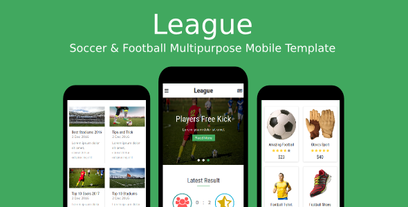 League – Soccer & Football Multipurpose Mobile Template