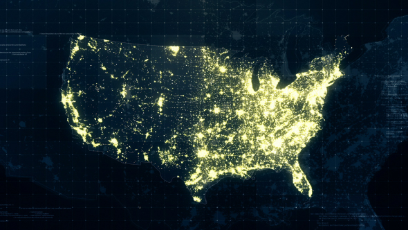USA Map Night Lighting Rollback 4K by rodionova | VideoHive