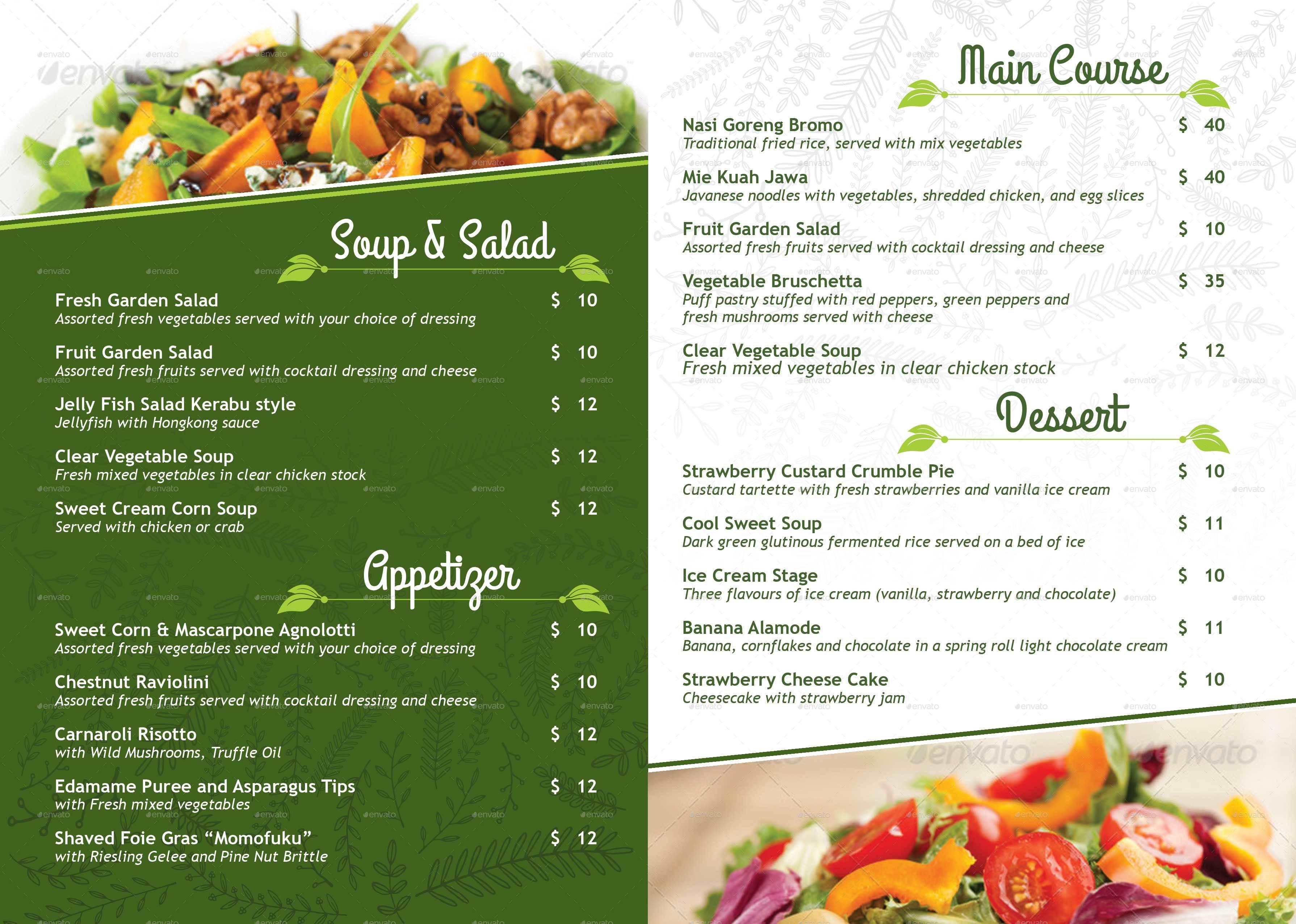 Vegetarian restaurant menu poster by royan graphicriver for Cuisine vegan