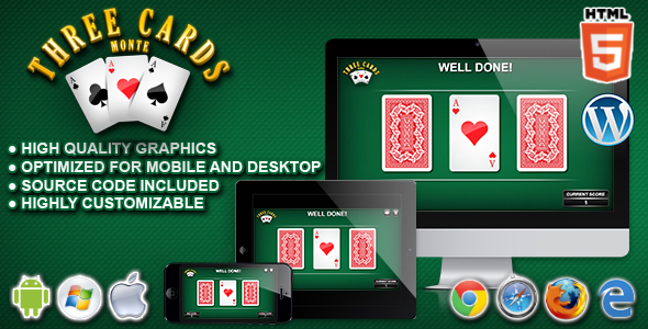 3 Cards Monte - HTML5 Casino Game - CodeCanyon Item for Sale