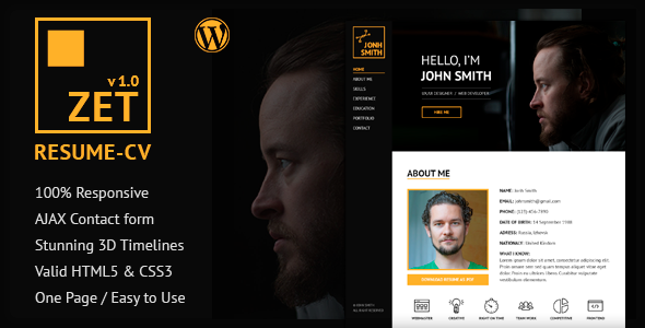 ZET – One Page Resume/Personal Portfolio WordPress Theme