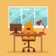 Vector Colorful Office Desk with Indoor Plants - GraphicRiver Item for Sale