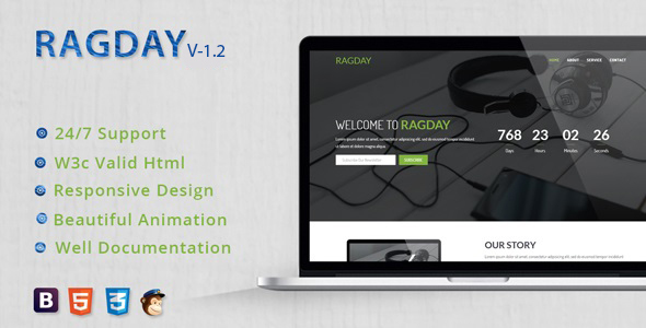 RagDay - Responsive Coming Soon Template - Under Construction Specialty Pages